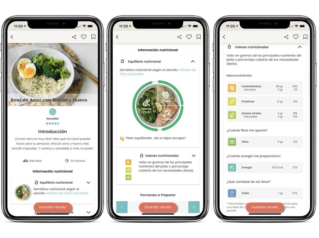 Nooddle, la app que te ayuda a cocinar con lo que tienes en la nevera, se actualiza ofreciéndonos información nutricional
