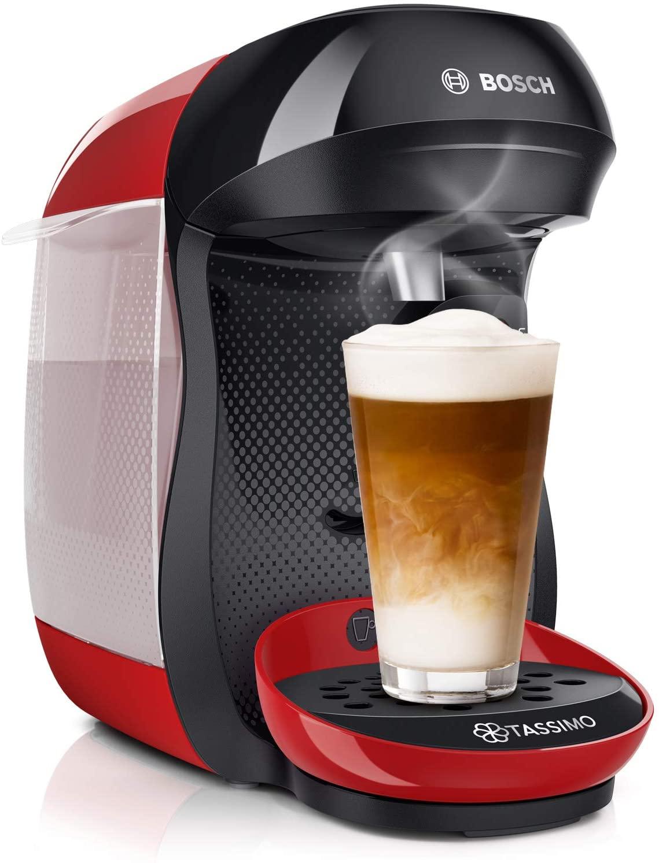 Bosch Tassimo Happy TAS1003 - Cafetera de cápsulas, con tecnología Intellibrew, 1400 W, color rojo