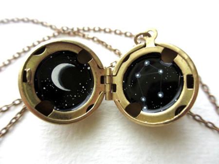 Miniature Astromony Oil Painting Jewelry Rustic Lockets Khara Ledonne 21
