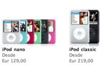 Rebaja de precio en los iPod nano y classic