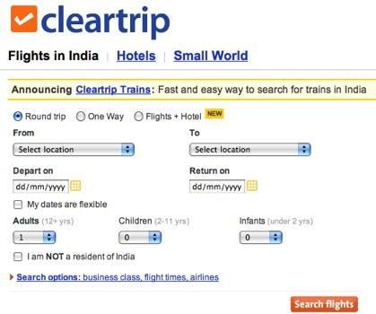 Cleartrip, buscador de vuelos, hoteles y trenes en la India