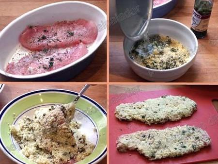 Receta de pechuga de pavo empanada con cuscús y alcaparras, pasos