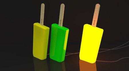 Lámparas Lollipop, con forma de polo de naranja y de limón