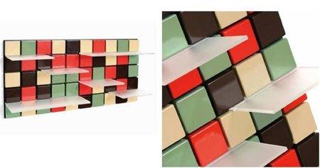 Confetti, estantes sobre mosaico