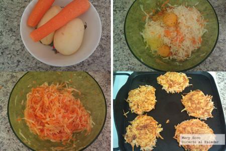Rösti de papa y zanahoria. Pasos