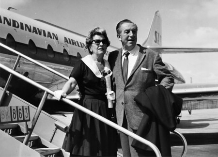 Walt Disney And His Wife Departing From Kastrup Airport Cph Copenhagen By Sas To Vienna