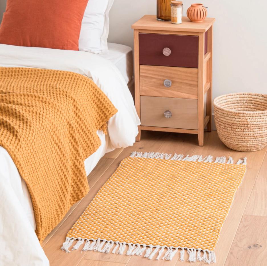 Alfombra de algodón Triana color crudo y amarillo 60x90