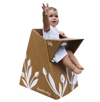 Trona de cartón reciclable