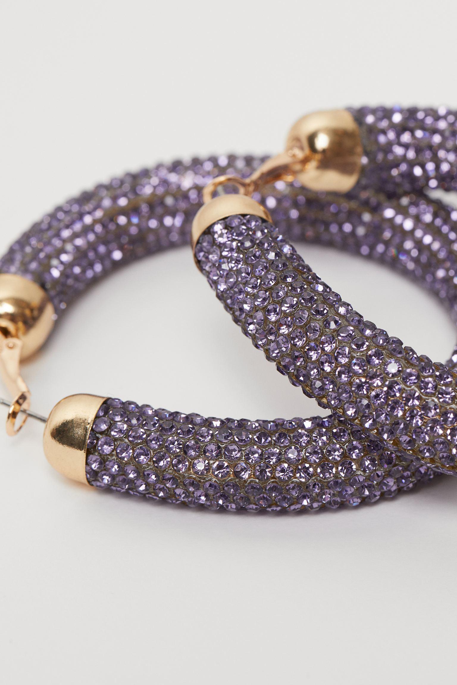 Pendientes de aro con cristales lila