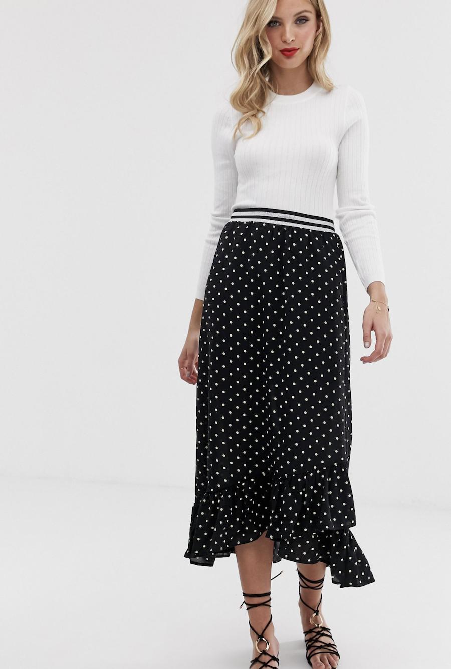 Falda cruzada a lunares de Vero Moda