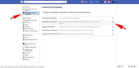 Pantalla Configuracion Como Descargar De Informacion De Facebook