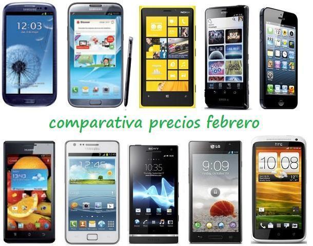 Comparativa precios febrero smartphones