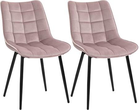 Sillas de comedor tapizado rosa