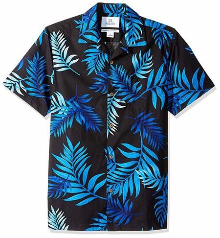 Marca Amazon - 28 Palms – Camiseta para hombre (100 % algodón, corte estándar), diseño hawaiano tropical