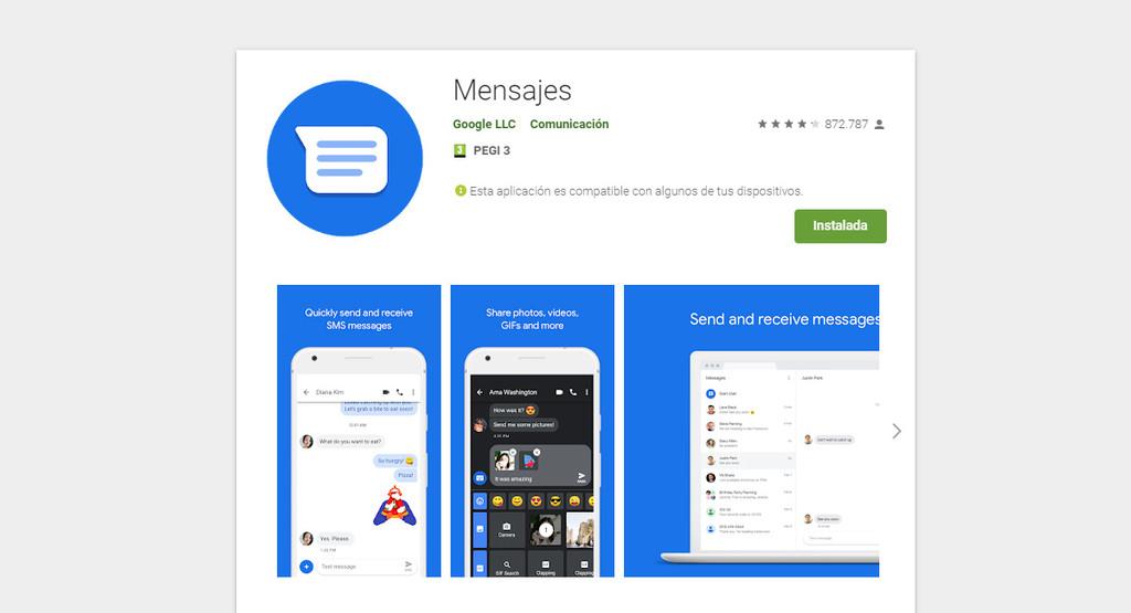 Mensajes de Android-OS en este instante se llama Mensajes, a secas