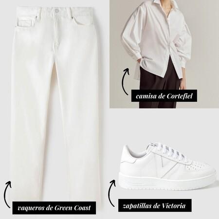 Looks Camel 2Vaqueros blancos + camisa blanca (al estilo sobrecamisa) + zapatillas blancas