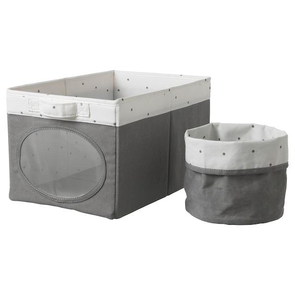 Caja y cesto en blanco y gris