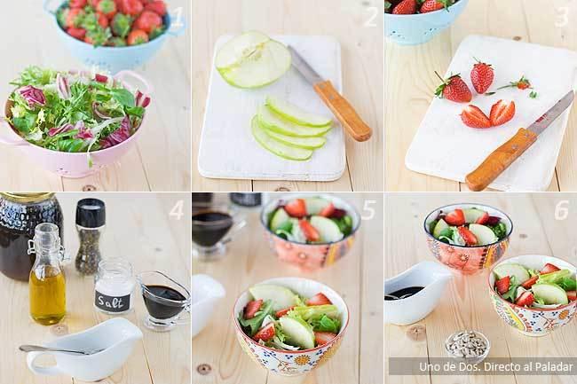 Receta de ensalada de manzana y fresa con pipas paso a paso
