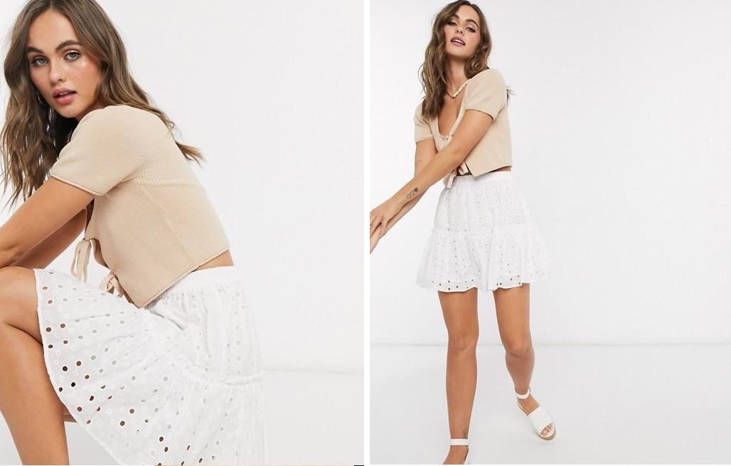 Minifalda con bordado inglés