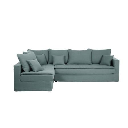 Sofa Esquinero Izquierdo De 5 Plazas De Lino Azul Celedon 1000 15 19 203420 1