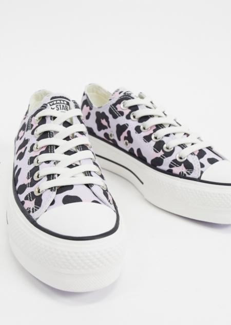 Zapatillas Bajas Con Plataforma Y Estampado De Leopardo En Lila Chuck Taylor Lift De Converse