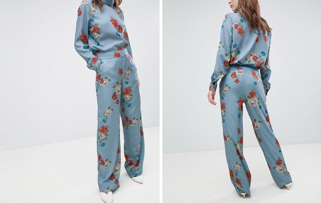 Pantalones satinados con estampado floral