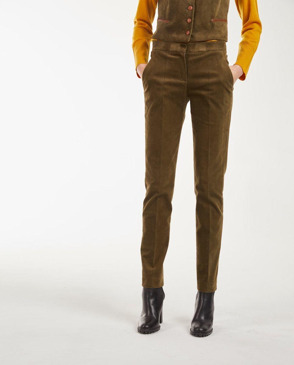 Pantalón recto de mujer de pana de talle alto y bolsillos delanteros