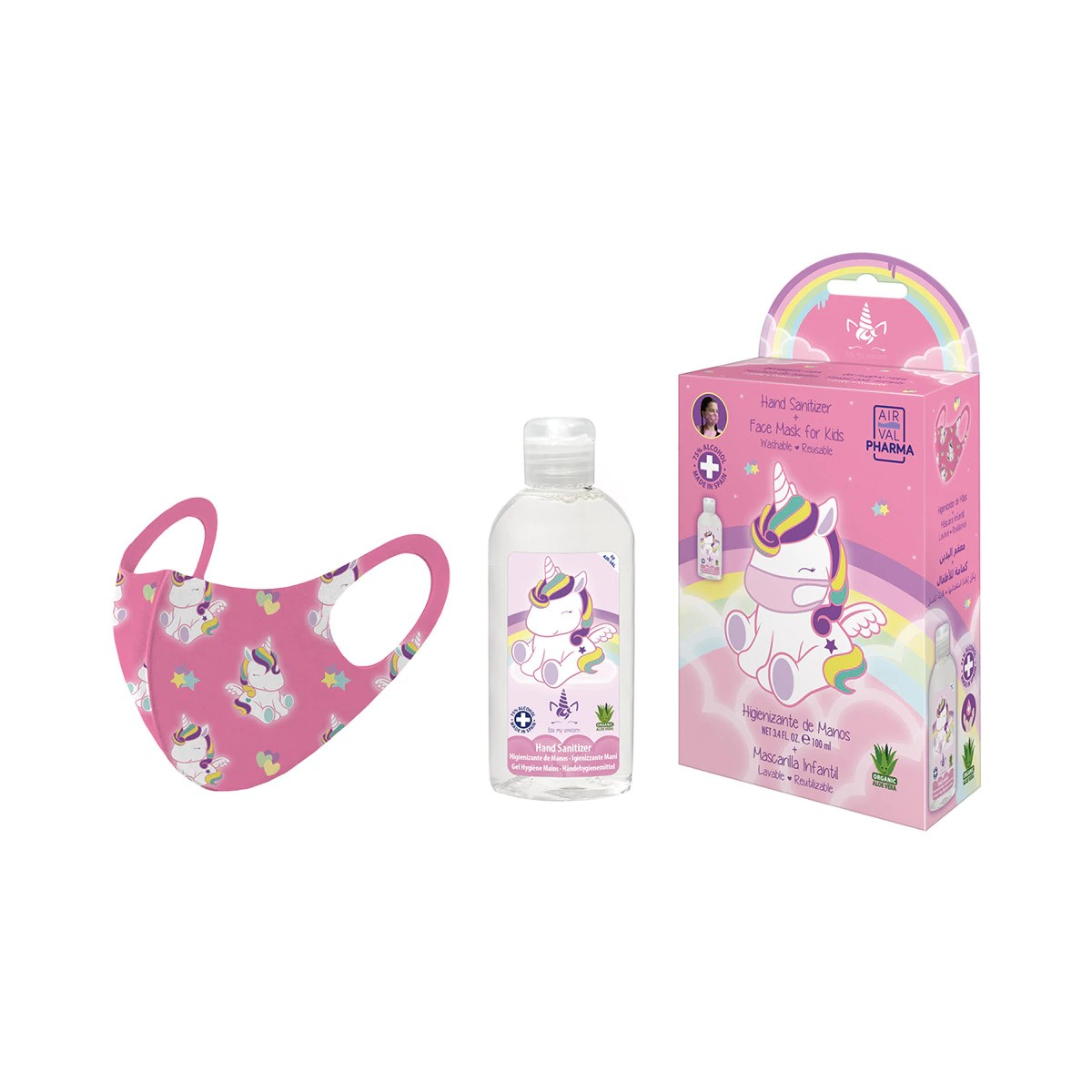 Pack Eau My Unicorn Higienizante de manos infantil frasco (100 ml.) + Mascarilla rosa