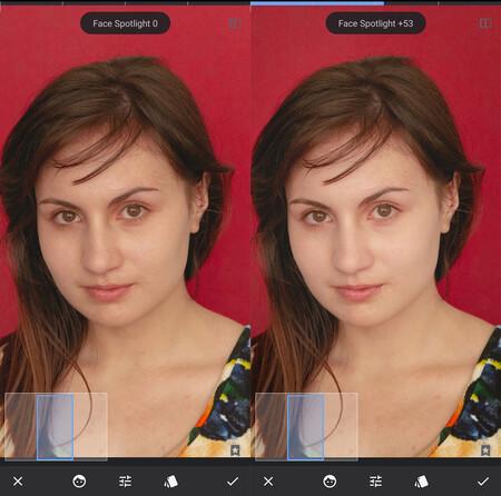 iluminar rostro herramienta spotlight snapseed