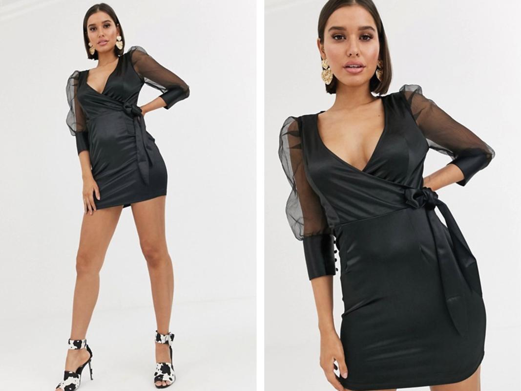 Vestido corto con diseño cruzado y mangas abullonadas de organza de satén negro de Boohoo