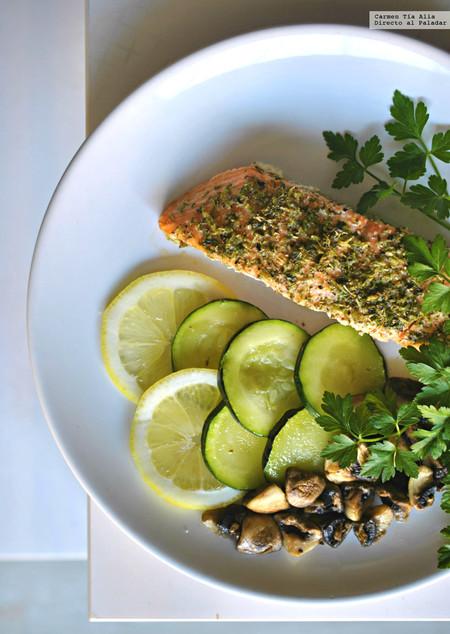 salmón al horno a las finas hierbas hierbas