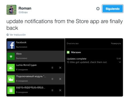 Los avisos de actualizaciones en aplicaciones volverán a Windows 10 Mobile