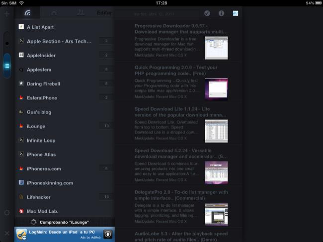 Foto de Lectores RSS para el iPad (1/20)
