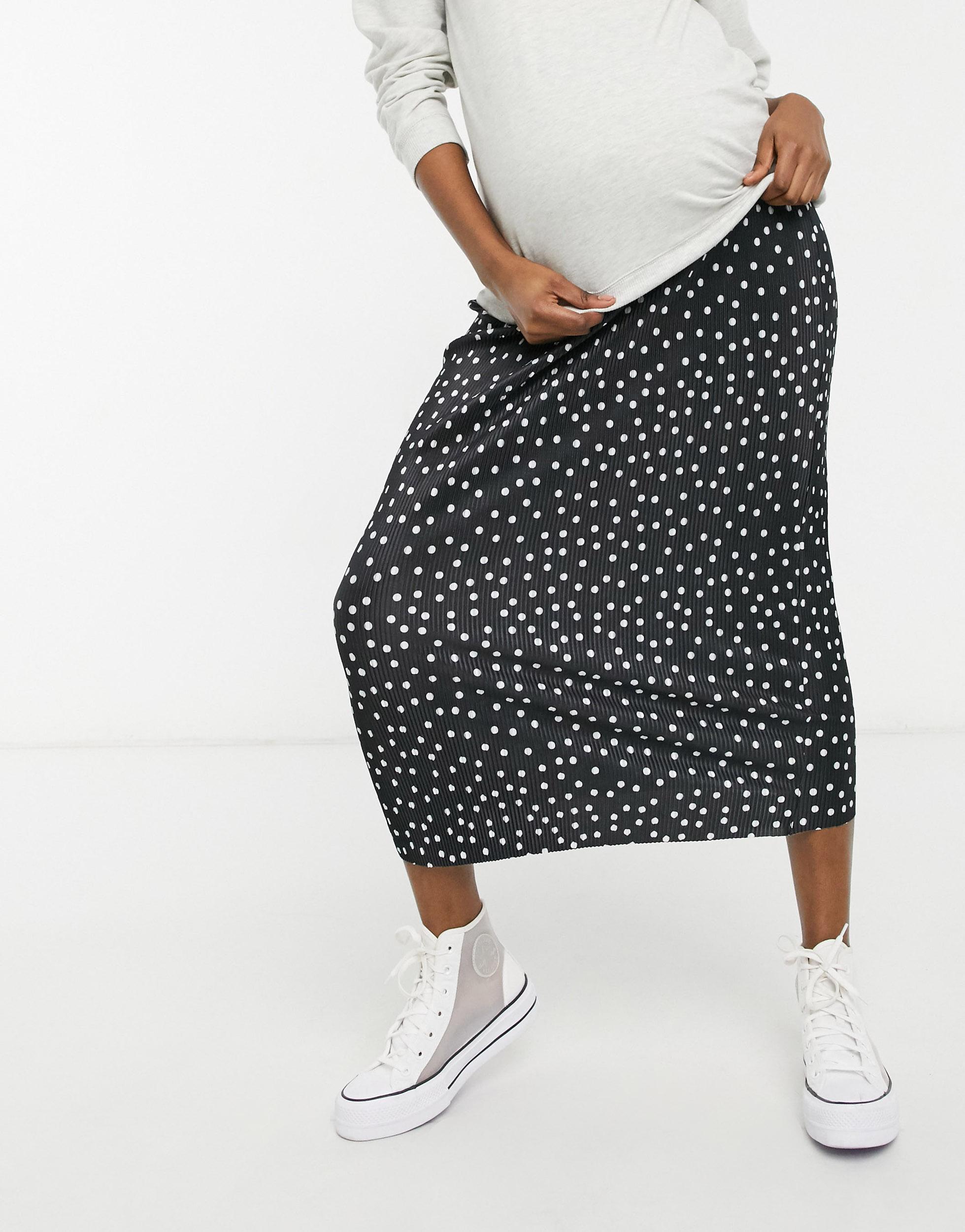 Falda midi de corte columna plisado con estampado de lunares monocromáticos