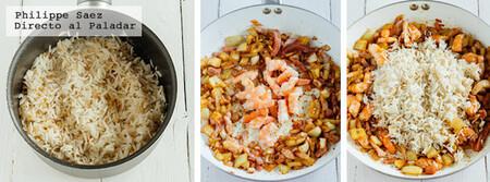 Arroz frito mar y tierra. Receta fácil