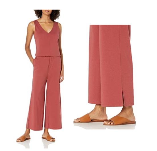 Marca Amazon - Daily Ritual Pima Cotton And Modal Interlock Sleeveless Wide-leg Jumpsuit - shirts Mujer