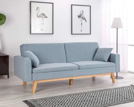 Sofa Cama 3 Plazas Reine Tapizado En Tela Color Azul Celeste