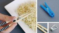Recicla tus pinzas para que comer con palillos sea más fácil
