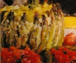 Flan de espárragos con tomates