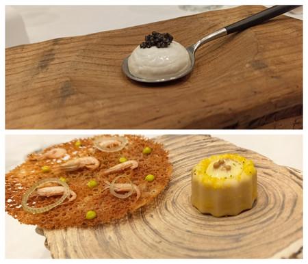 01 Agua de ostión y caviar; tortillita de camarones y cremoso de sardina de barril
