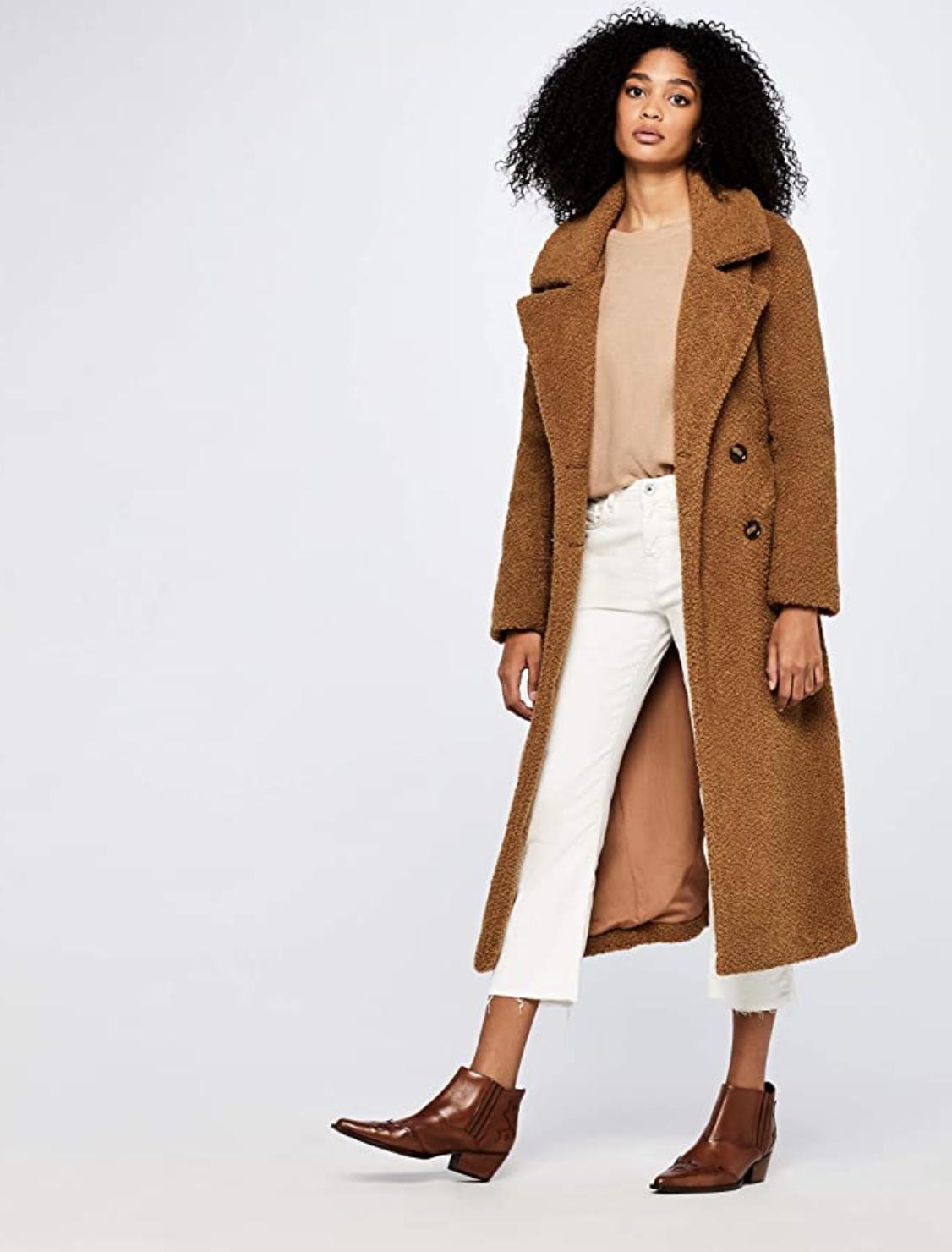 Marca Amazon - find. Longline Teddy Coat Chaqueta Mujer