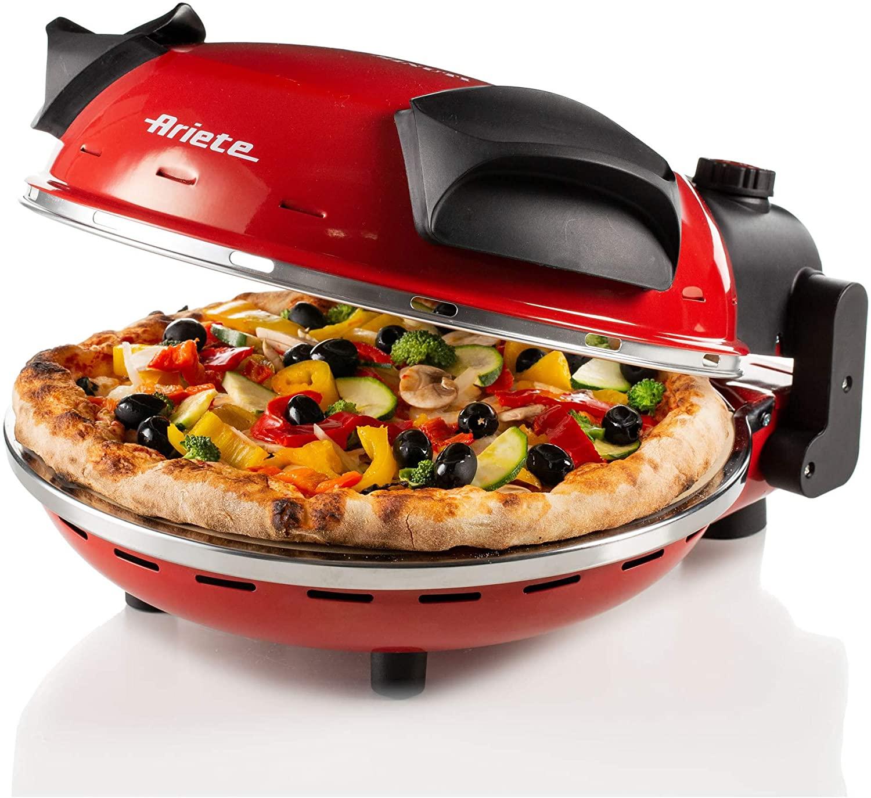 Ariete 909 - Horno para pizza en 4 minutos, 1200 W, 5 niveles temperatura, diámetro 33 cm, regulador de tiempo 30 minutos y temperatura, indicador luminosos encendido/apagado, color rojo negro