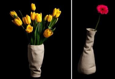 Jarrones de cerámica que parecen de tela