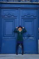 seraphine vestido azul y verde