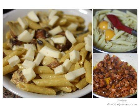 Macarrones con chorizo y champiñones al horno