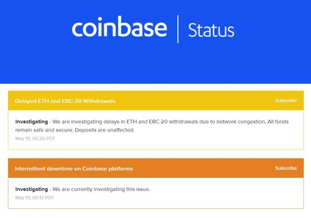 Estado de Coinbase.