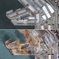 Beirut antes y después de la explosión, vista desde el aire