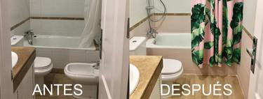 Antes y después; un poco de pintura rosa para transformar un baño con muy poco presupuesto
