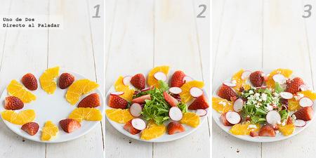 Ensalada de naranja y fresones. Receta