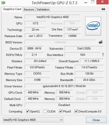 Alienware 14 GPUz Intel